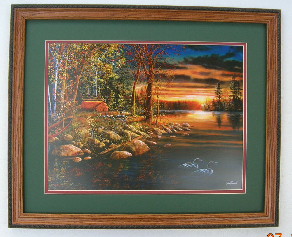 Jim Hansel Wake Up Call Loons Camping Framed Country