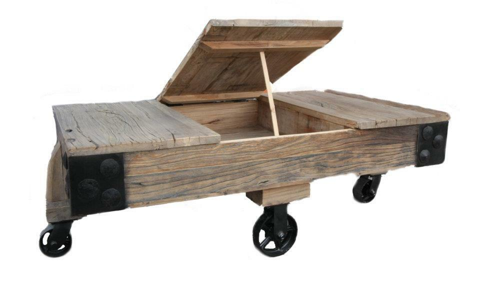 Reclaimed Pine Coffee Table On Caster Wheels Ebay