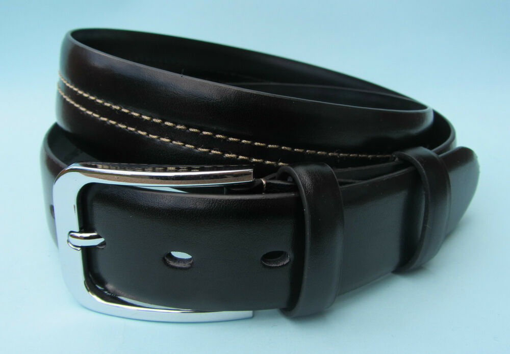 mens dress black brown real leather stitch pattern belt ebay