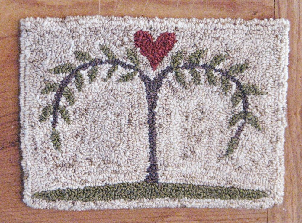 "PRIMITIVE PUNCH NEEDLE PATTERN ~ PETITE PRIMS SERIES ""WILLOW TREE ..."