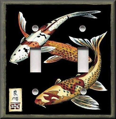 Light switch plate cover asian art koi fish zen for Japanese fish decoration