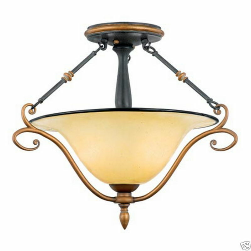 UNIQUE STONEHEDGE SEMI FLUSH CEILING LIGHT FIXTURE