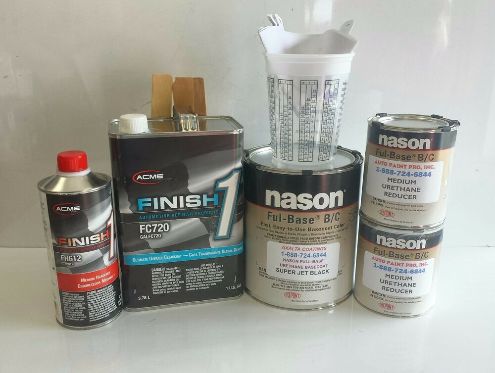Super jet black urethane nason basecoat finish 1 clearcoat for Automotive paint suppliers