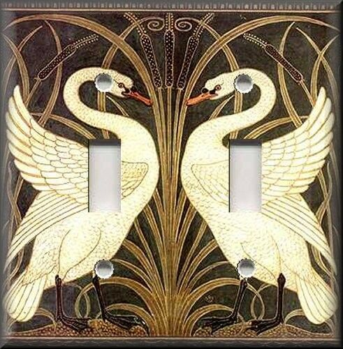 Light Switch Plate Cover Art Nouveau Swans Vintage