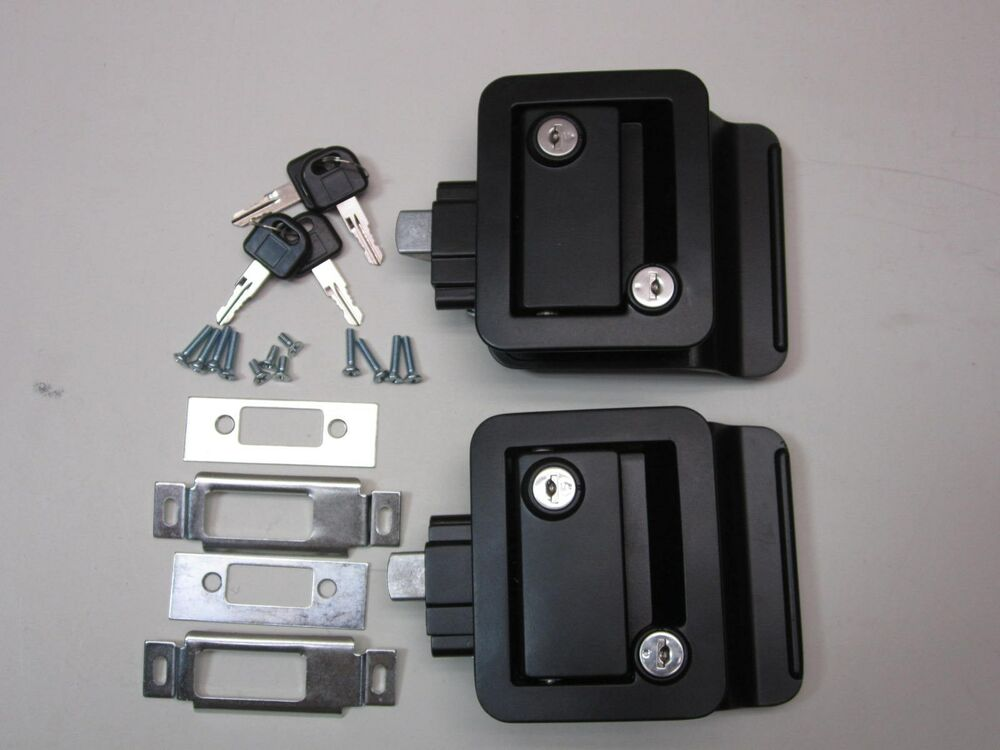 2 Black Rv Entry Door Lock Handle W Deadbolt Camper
