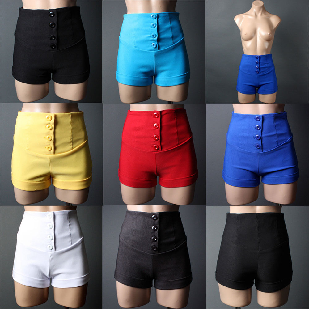 Women Casual Colored High-Waisted Skinny SHORTS Trend Hot ...