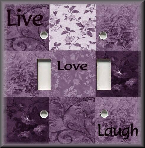 Light Switch Plate Cover Inspirational Sayings Live Love Laugh Plum Purple Ebay