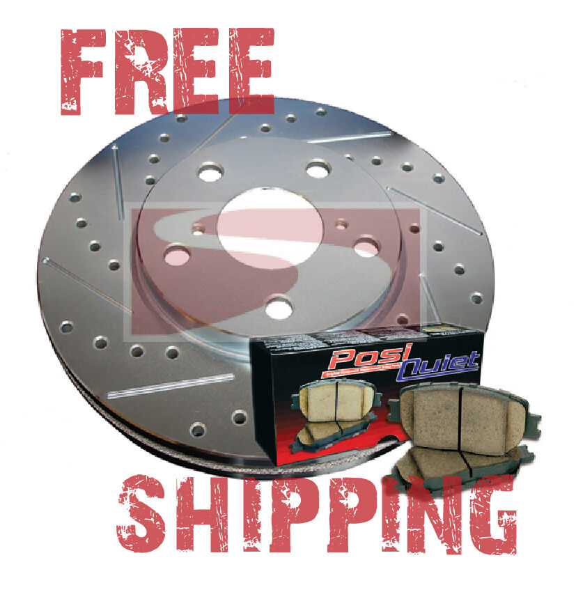 front drill slot brake rotors posi quiet ceramic pads for chrysler 300 300c ebay. Black Bedroom Furniture Sets. Home Design Ideas