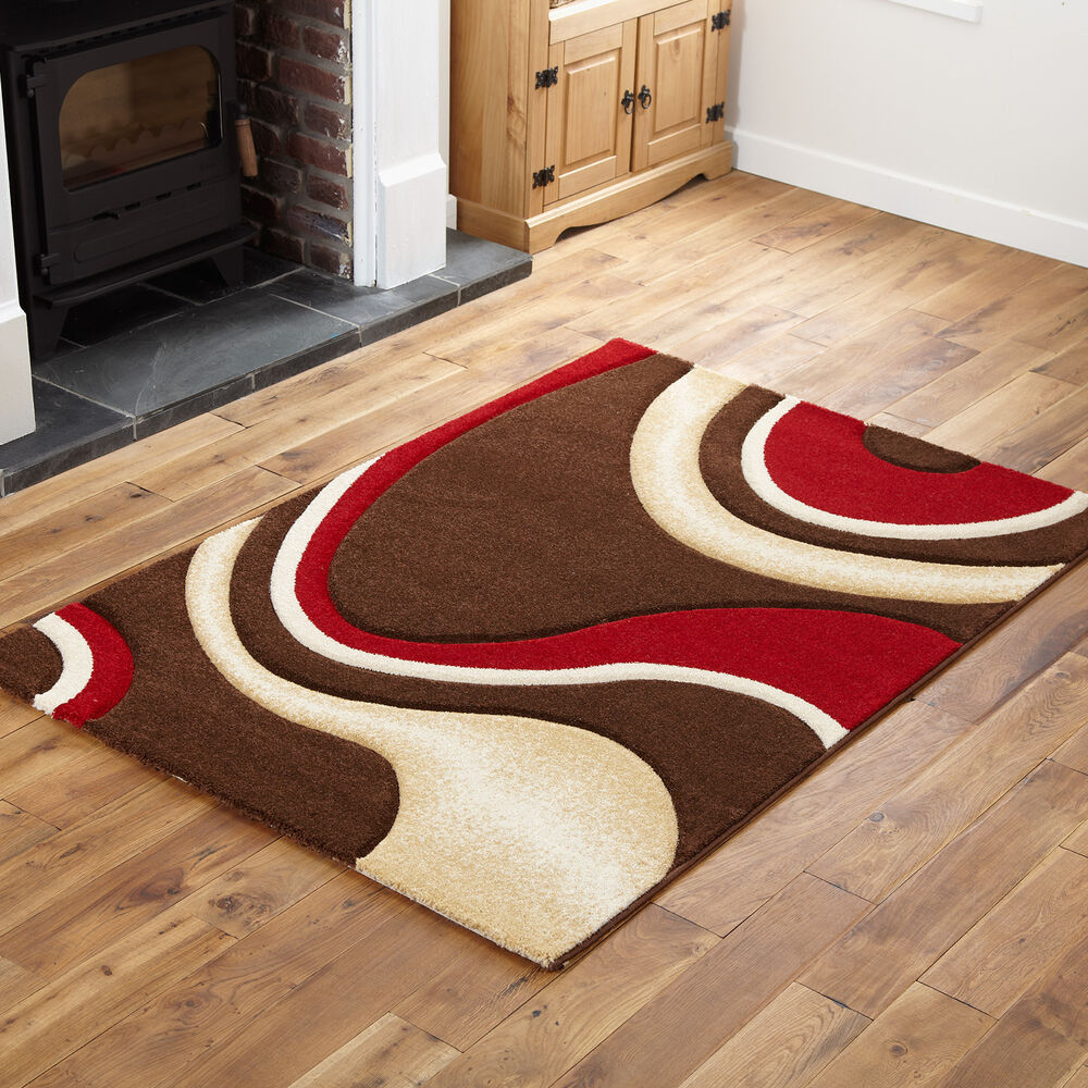 small extra large modern swirl curl carved chocolate brown beige red rug ebay. Black Bedroom Furniture Sets. Home Design Ideas
