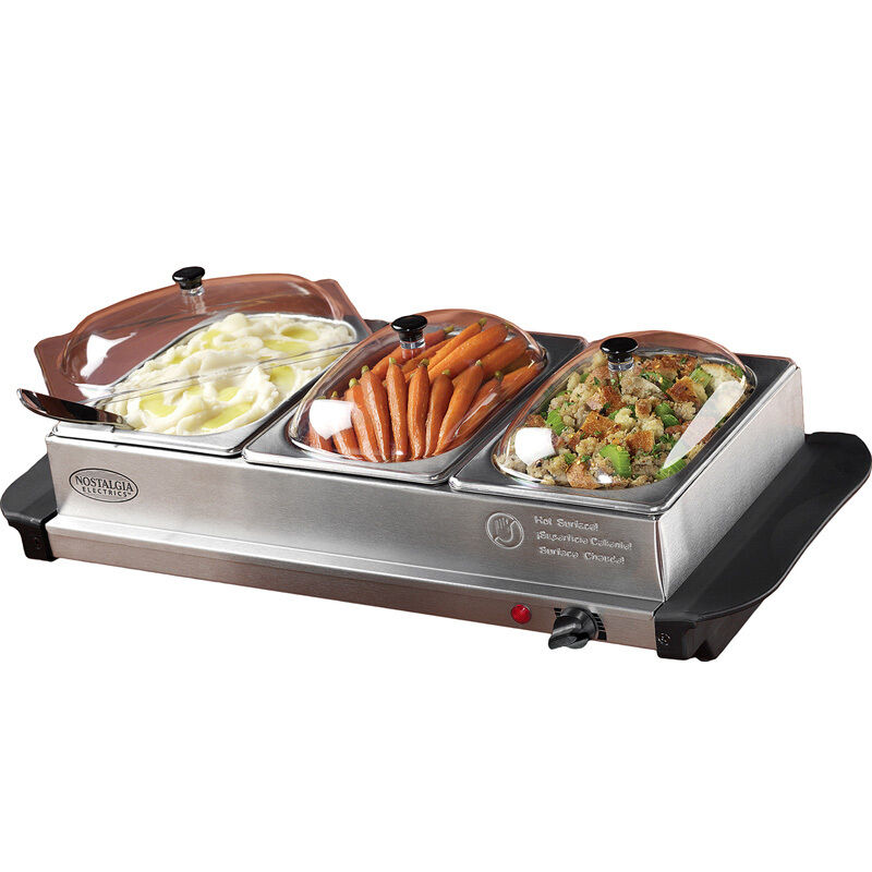 Party Food Warmers ~ Stainless steel buffet server food warmer tray station