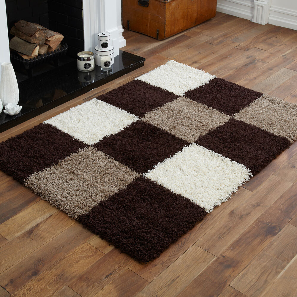 Caucasian Rugs Uk: EXTRA LARGE THICK CHOC. BROWN CREAM IVORY WHITE