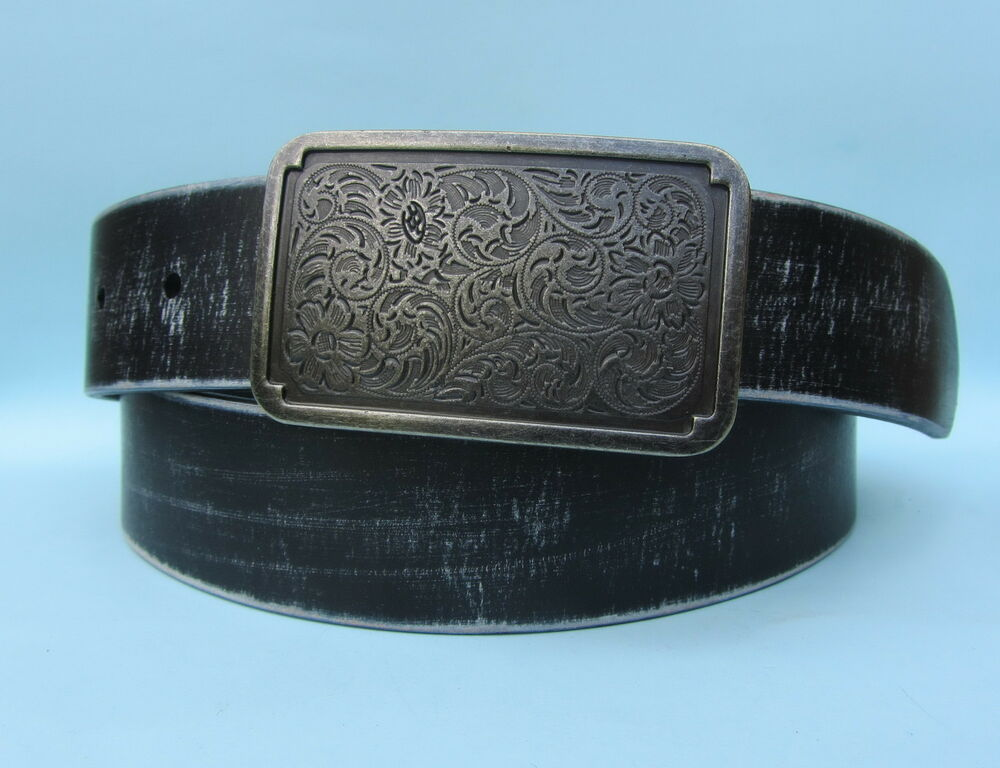 western style jean brushed black real leather belt ebay