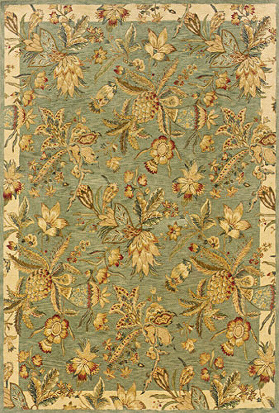 8x11 Sphinx Wool Hand Knotted Green Tropical 19103 Rug ...