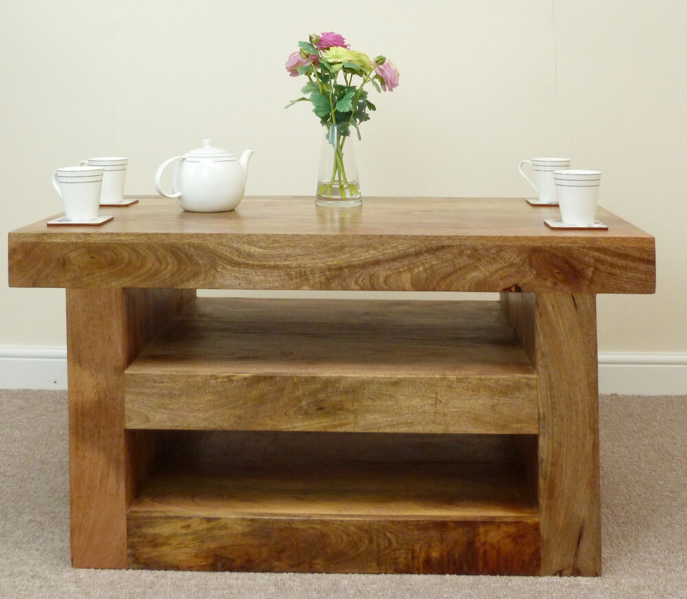 Used Solid Wood Coffee Table: Mantis Solid Mango Wood Coffee Table With Shelf / Also