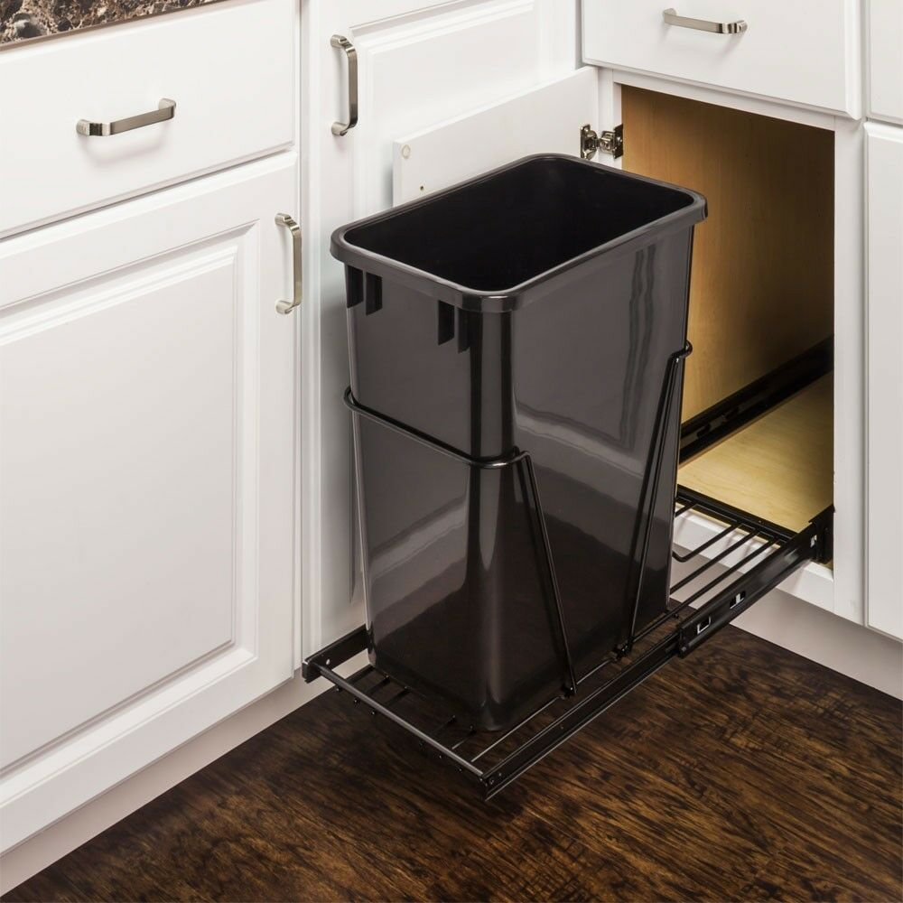 single 35 quart pull out trash waste container system w 1 black can ebay. Black Bedroom Furniture Sets. Home Design Ideas