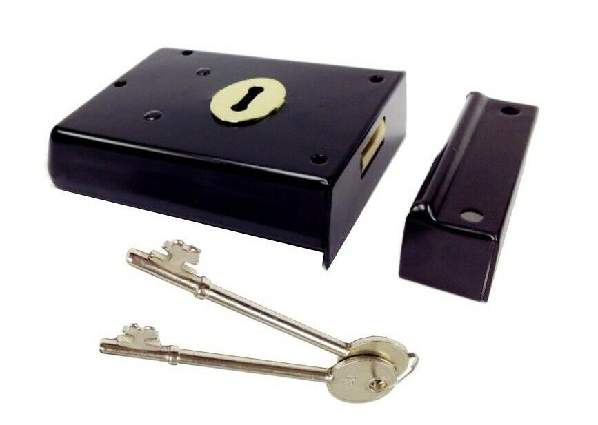 Door lock black rim surface mounted 100mm x 76mm with 2 for Surface lock