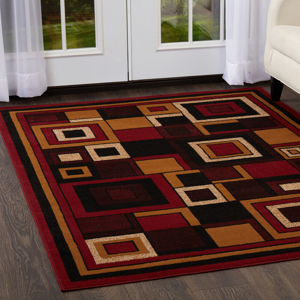 Rug Runners Contemporary: Modern Geometric Red Area Rug 2x8 Contemporary Runner