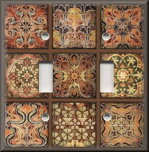 Metal Light Switch Plate Cover Tuscan Tile Mosaic