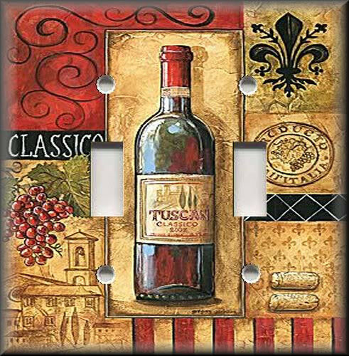 Light switch plate cover tuscan wine with grapes Wine shop decoration