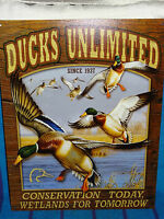 New Tin Sign- Ducks Unlimited- Conservation Today- Mallard Ducks- Made in USA