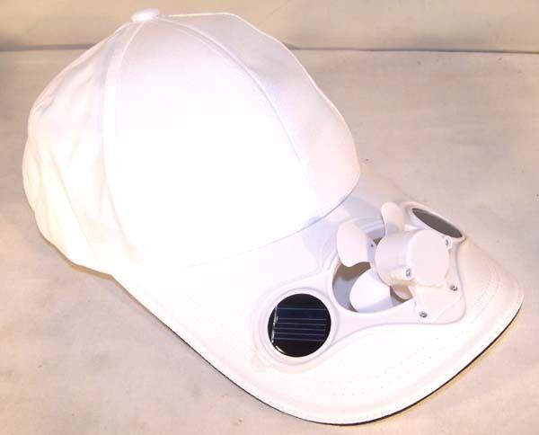 2 White Solar Power Fan Baseball Cap Cool Air Powered Hat