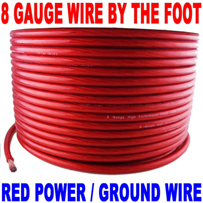 8 GAUGE AWG WIRE RED POWERGROUND NEW BY THE FOOT FT | eBay