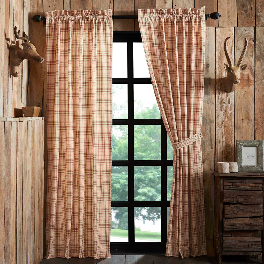 Red Window Curtain Panels Sale: Tacoma Window Panel Set Primitive Rustic Creme Red Check