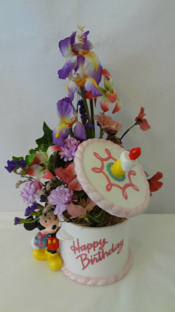 Walt Disney Happy Birthday Cake Mickey Mouse Floral