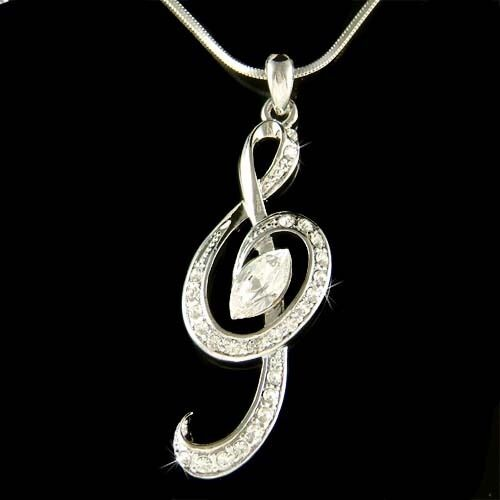 W Swarovski Crystal Treble G Clef Music Musical Note