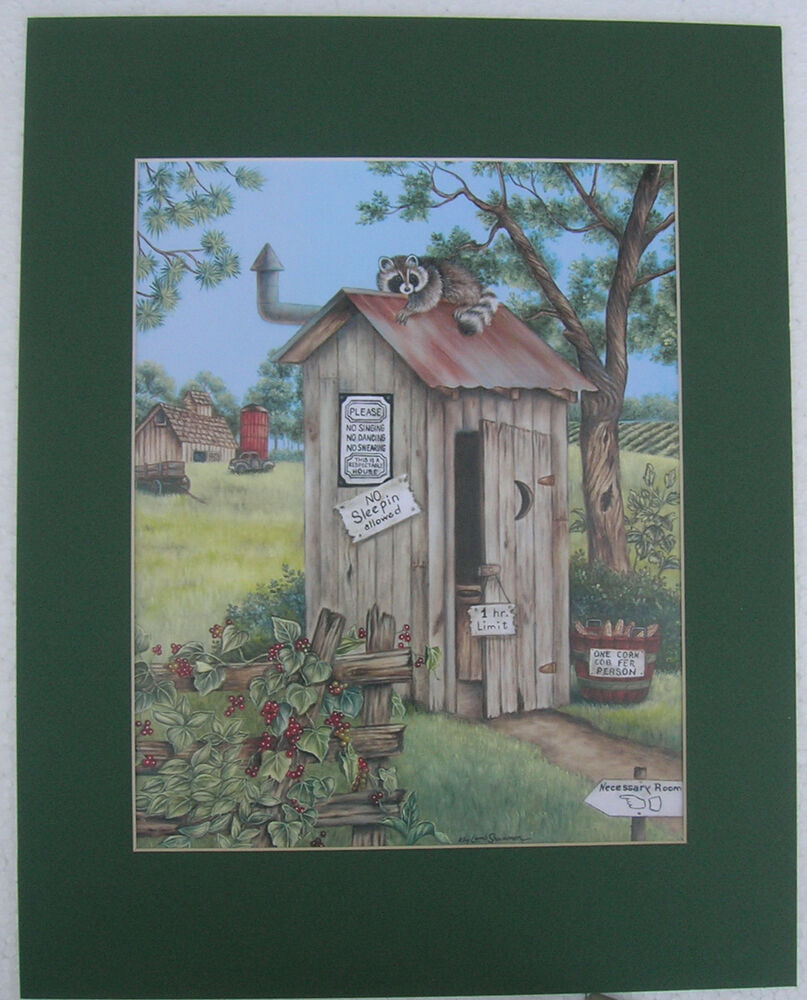 Bath room pictures raccoon outhouse matted country picture print art