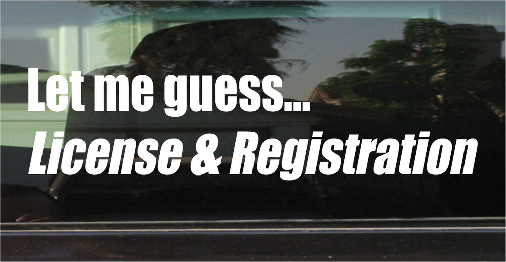 Let Me Guess License Amp Registration Vinyl Decal