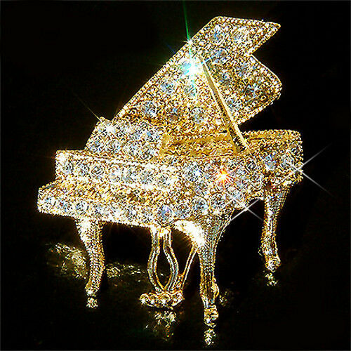 W Swarovski Crystal Grand Piano Music Musical Jewelry Gold