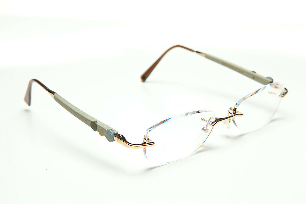 GOLD AND WOOD RIMLESS EYEGLASSES GLASSES SUNGLASSES Am38 ...