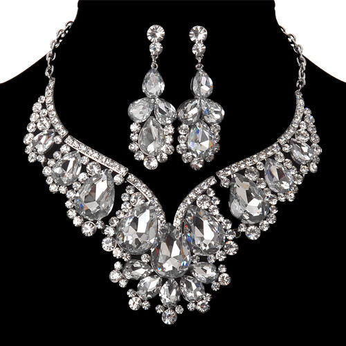 Retro Wedding Jewelry Crystal Rhinestone Earrings Necklace Set | EBay