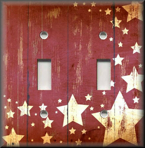 Metal light switch plate cover country home decor aged for Country star decorations home