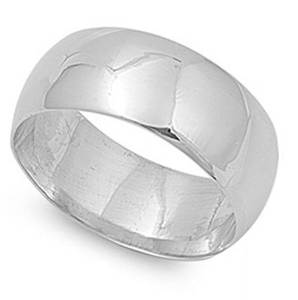solid 10mm plain 925 sterling silver wedding band all