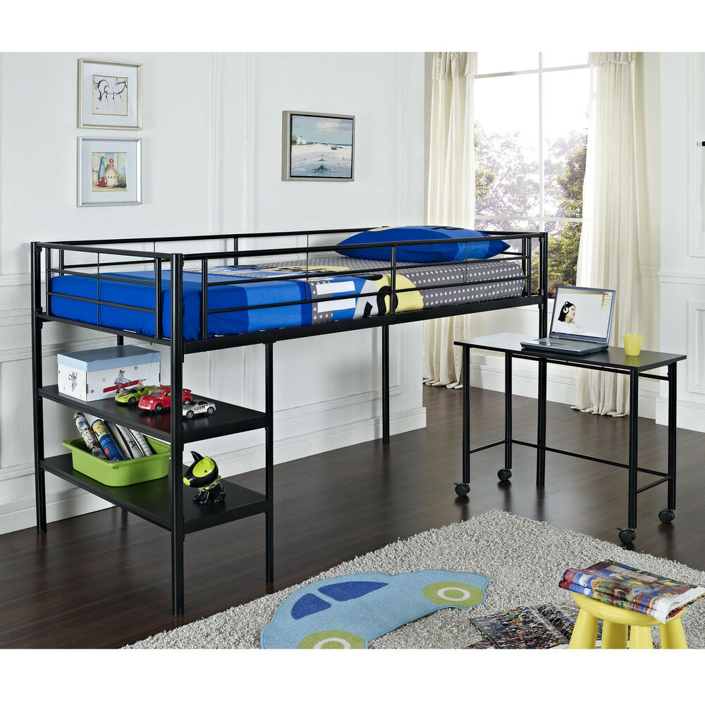 twin metal loft bed in black or white finish w shelves and pullout rolling desk ebay. Black Bedroom Furniture Sets. Home Design Ideas