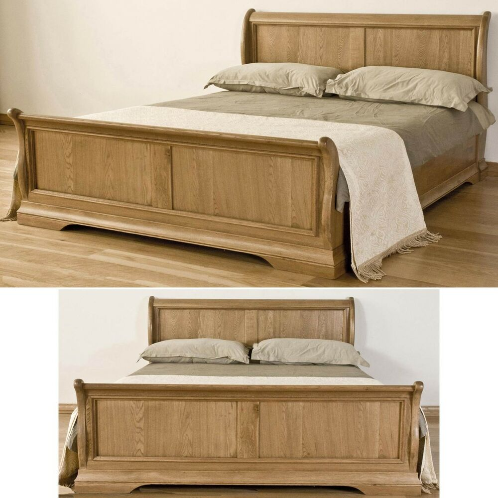 french solid oak furniture 4 39 6 double bedroom sleigh bed ebay