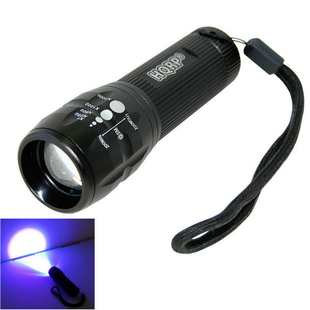 HQRP LED Ultra Violet UV Light Zoomable Zoom Torch