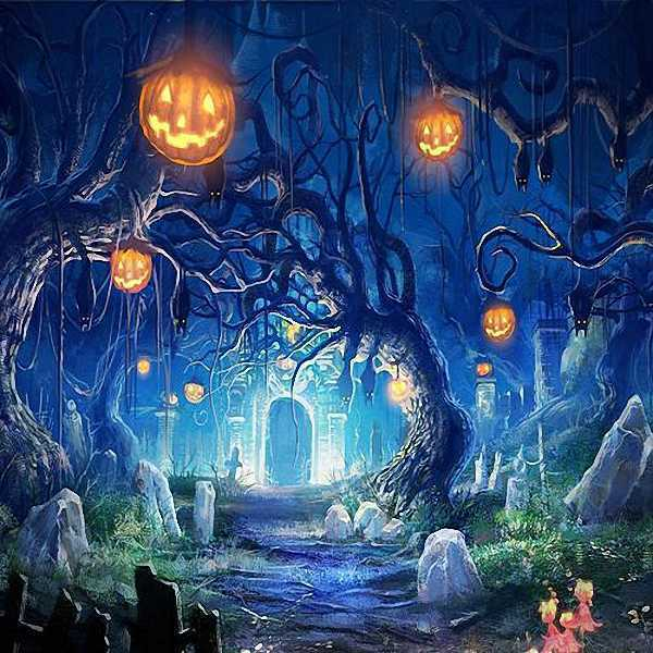Halloween Cemetery 10x10 CP Backdrop Computer painted