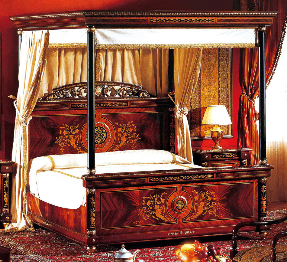 Cherry gold french empire king canopy bed ebay for Gold bed canopy
