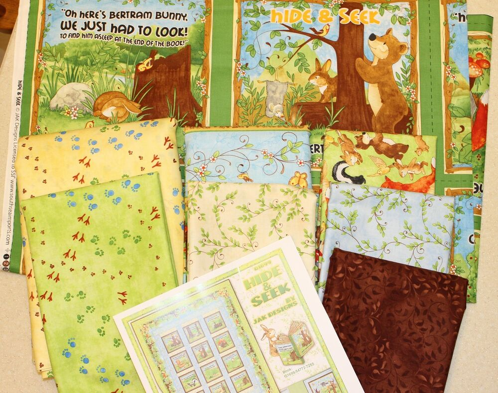 Childrens hide seek bertram bunny twin quilt kit fabric for Childrens quilt fabric