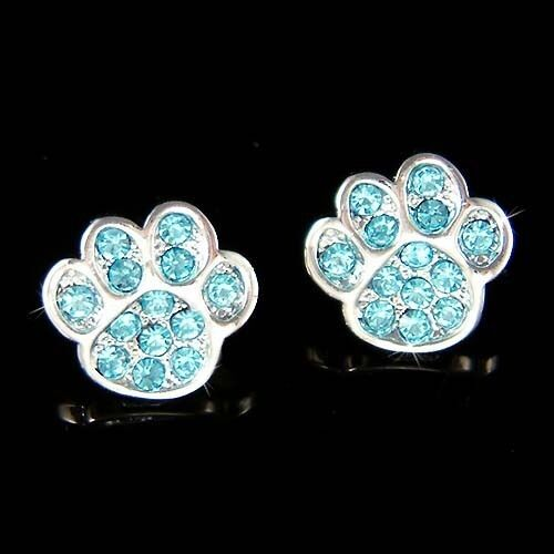 Blue W Swarovski Crystal Dog Kitty Cat Kitten Pawprint Paw
