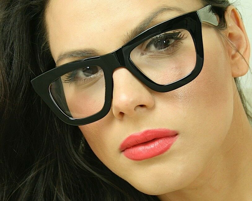 cat eye big oversized clear lens thick black frame