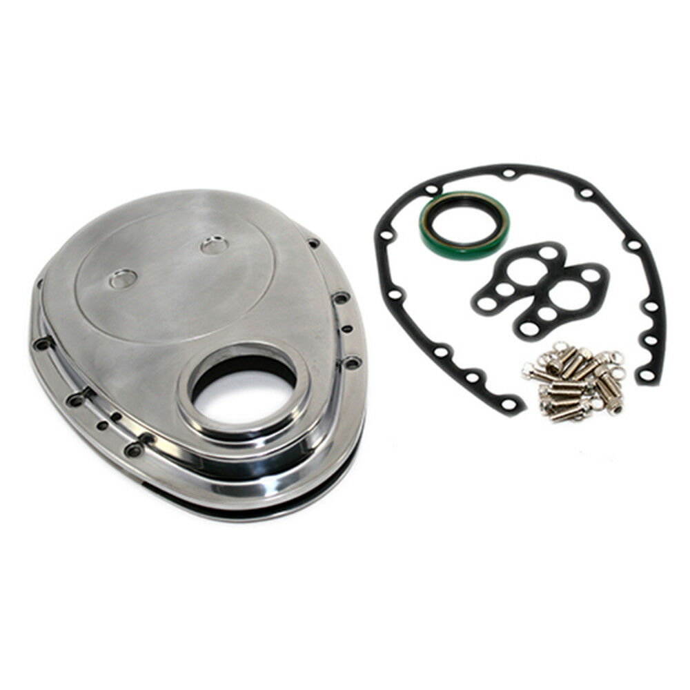 SBC Chevy Polished Aluminum Timing Chain Cover Kit