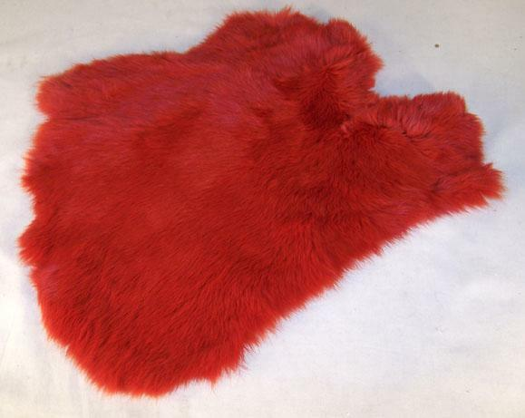 2 red genuine rabbit skin new solf leather tan hide fur for Furry craft