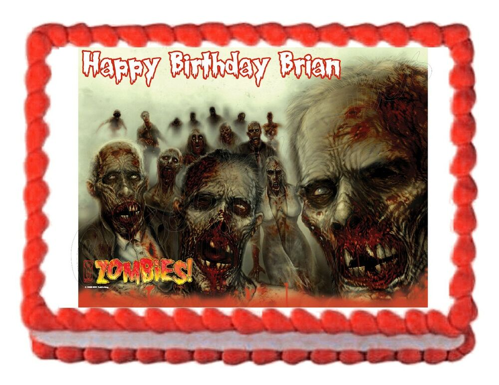 Zombies edible party cake topper decoration cake frosting for Decoration zombie