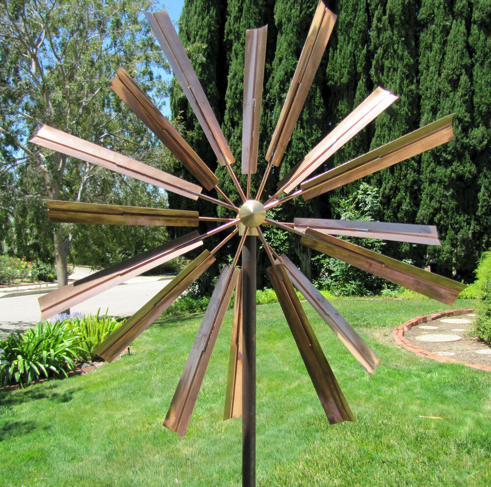 Kinetic copper wind sculpture double windmill spinner ebay for Outdoor wind spinners