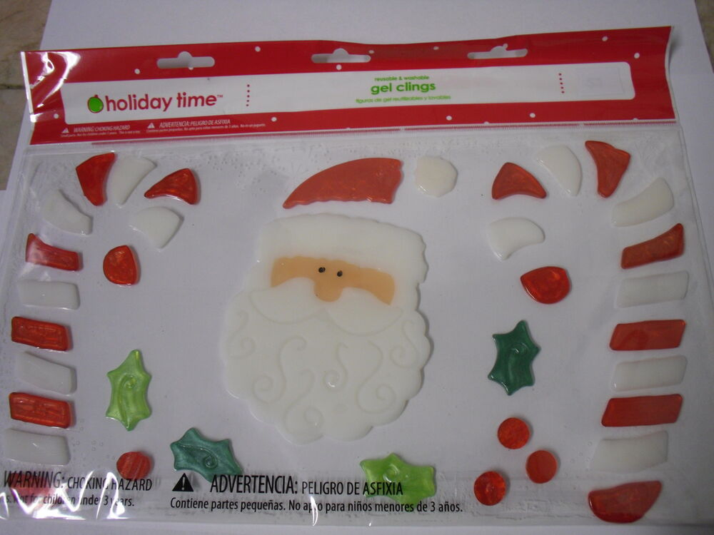New merry christmas santa snowman window gel clings for Decoration fenetre gel
