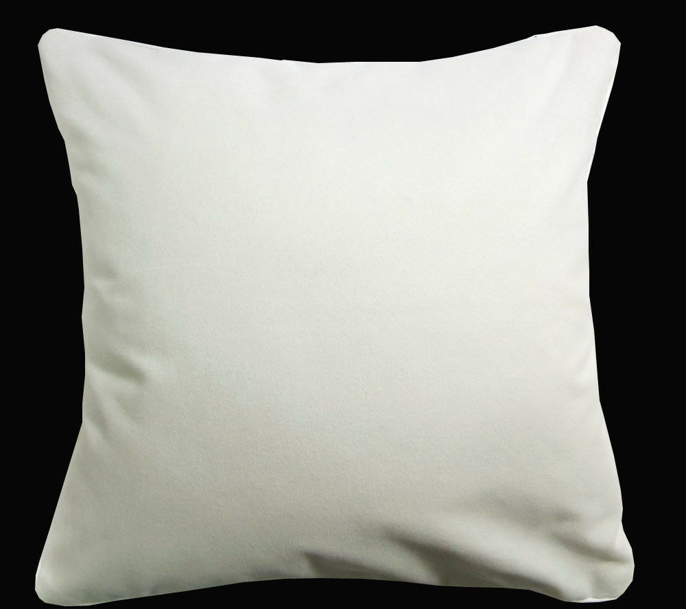 Mb51a Cream White Plain Flat Velvet Style Cushion Cover